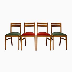 French Leatherette and Oak Dining Chairs, 1950s, Set of 4