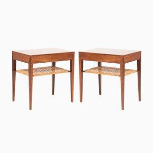 Tables de Chevet en Palissandre et Jonc par Severin Hansen pour Haslev Møbelsnedkeri, 1960s, Set de 2