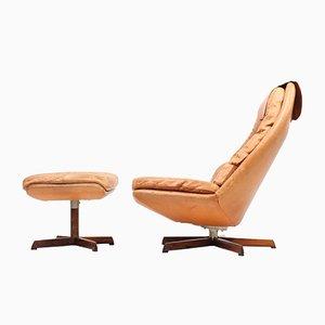 Juego de silla y reposapiés de cuero y palisandro de Madsen & Schübel, años 60