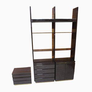 Glass and Compressed Wood Wall Units by Jean Claude Mahey, 1970s, Set of 2