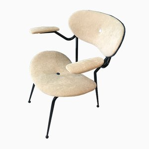 Italian Iron and Velvet Lounge Chair by Gastone Rinaldi for Rima, 1950s