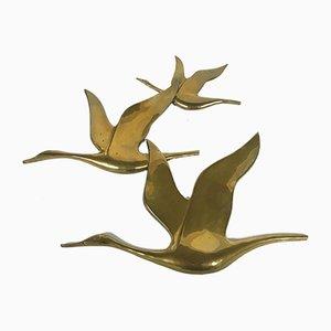 Escultura de pájaros vintage de cobre, años 70