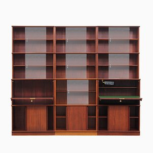 Mid-Century French Mahogany Oscar Wall Unit by Didier Rozaffy, 1950s