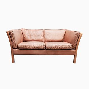 Scandinavian Modern Leather 2-Seater Sofa from Stouby, 1970s