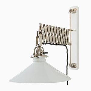 Art Deco Frosted Glass and Nickel Sconce, 1920s