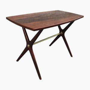 Tavolino da caffè in ottone e palissandro di Jo Carlsson per JOC Vetlanda, anni '50