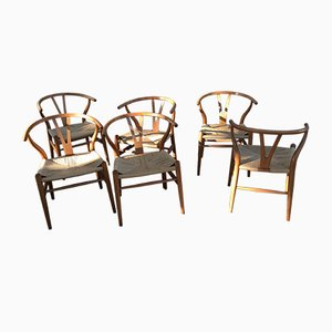 Scandinavian Modern CH24 Wishbone Oak Armchairs, 1960s, Set of 6