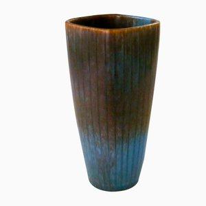 Vaso vintage marrone e blu di Carl-Harry Stålhane per Rörstrand, Svezia