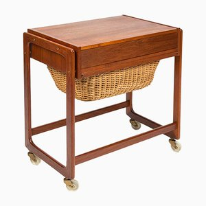 Mid-Century Danish Teak and Reed Trolley, 1960s