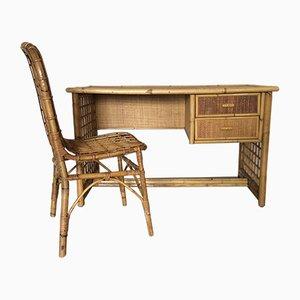 Juego de escritorio italiano Mid-Century de bambú y mimbre, años 60