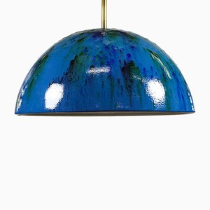 Mid-Century Brass and Enamel Ceiling Lamp, 1960s