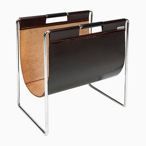 Leather and Tubular Steel Magazine Rack from Brabantia, 1970s