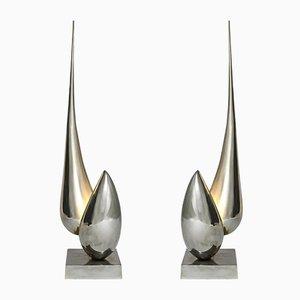 Lámparas de mesa francesas de bronce de Michel Armand, años 70. Juego de 2