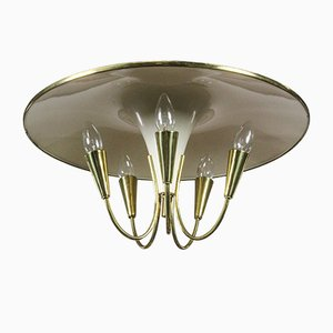 Aluminum, Brass, and Lacquer Ceiling Lamp, 1950s
