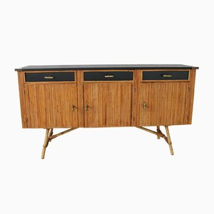 Mid-Century French Bronze and Leatherette Sideboard, 1950s
