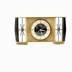 Horloge de Cheminée Mid-Century en Laiton Brossé et Imitation Onyx par Metamec, 1970s