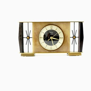 Mid Century Brushed Brass & Faux Onyx Mantle Clock by Metamec, 1970s
