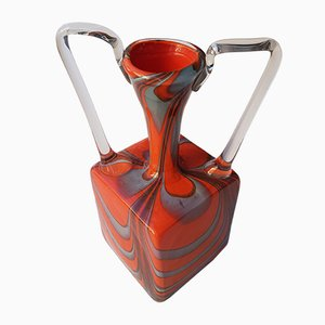Vintage rechteckige Op Art Vase von Breit Klaus für Wiesenthalhütte, 1970er Jahre