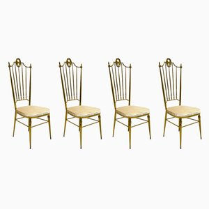 Italian Brass and Velvet Dining Chairs, 1950s, Set of 4