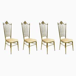 Italienische Esszimmerstühle aus Messing & Samt, 1950er, 4er Set