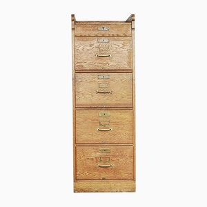 Industrial Oak Filing Cabinet, 1920s
