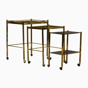 Mid-Century French Brass and Smoked Glass Trolleys, 1950s, Set of 3