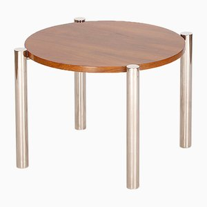 Table Basse Vintage en Chromage, Bois et Noyer