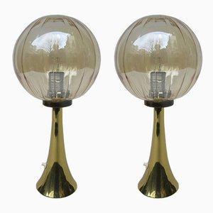 Lámparas de mesa alemanas era espacial de vidrio y latón, años 60. Juego de 2
