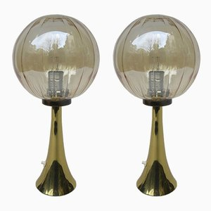 Space Age German Brass and Glass Table Lamps, 1960s, Set of 2