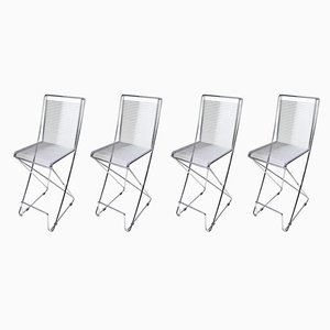 Modernist Chrome Plated Stools by Till Behrens for Schlubach, 1980s, Set of 4