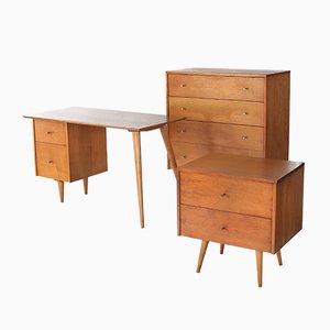 Set avec Bureau, Commode et Table de Chevet en Érable par Paul McCobb pour Winchendon, 1960s