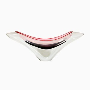 Scandinavian Modern Hand-Blown Glass Coquille Vase by Paul Kedelv for Flygsfors, 1950s