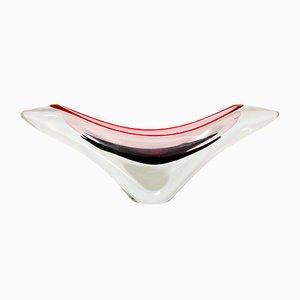 Vaso della serie Coquille moderno in vetro di Paul Kedelv per Flygsfors, Scandinavia, anni '50