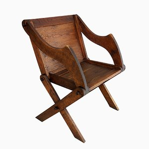 Antique Art Nouveau German Oak Armchair