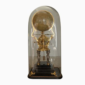 Antique Clock with Terrestrial Globe by Victor Laneuville