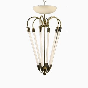 Large German Brass & Metal Theater Ceiling Lamp, 1950s