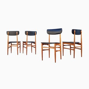 Scandinavian Modern Skai & Wood Dining Chairs, 1970s, Set of 4