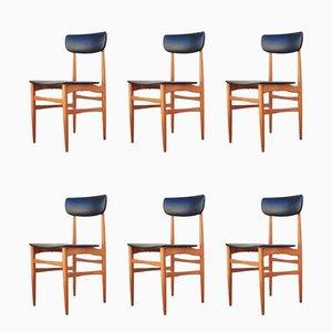 Moderne Esszimmerstühle aus Skai & Holz im skandinavischen Stil, 1970er, 6er Set