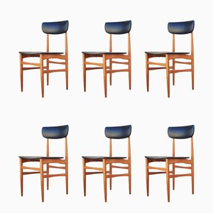 Scandinavian Modern Skai and Wood Dining Chairs, 1970s, Set of 6