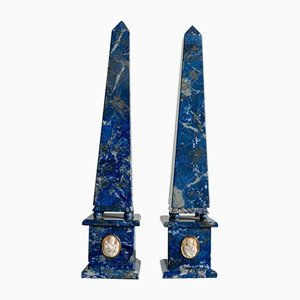 Vintage Art Deco Blue Marble Obelisks, Set of 2