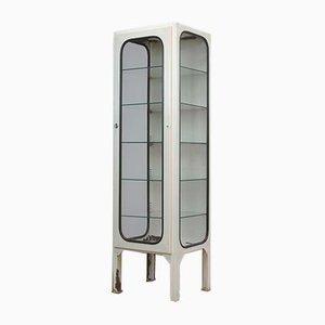 Vitrina industrial vintage de hierro y vidrio, años 70