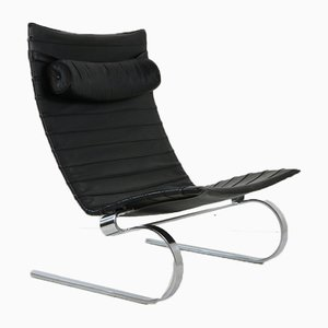 PK20 Danish Leather and Steel Lounge Chair from E. Kold Christensen, 1960s