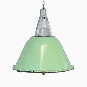 Lámpara colgante Mid-Century de vidrio y hierro, años 60
