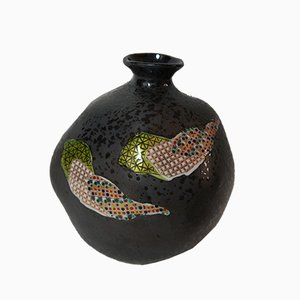 Japanese Dark Grey Kutani Ware Vase with Mosaic Motif, 1950s