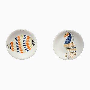 Assiettes en Céramique de Capron, France, 1960s, Set de 2