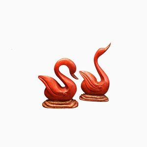 French Wooden Red Swans, 1950s, Set of 2
