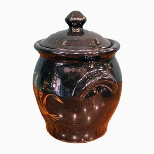 French Black & Gold Terracotta Decorative Vase with Wheat Decor, 1950s