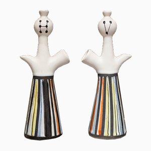 Französische Porzellanvasen von Roger Capron, 1960er, 2er Set