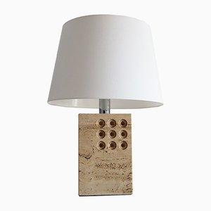 Lámpara de mesa italiana moderna de travertino de Reggiani, años 70