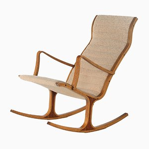 Rocking Chair Héron Art Déco par Mitsumasa Sugasawa pour Kosuga, 1960s